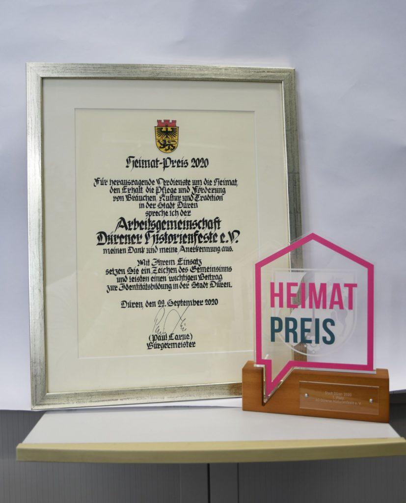 Heimatpreis und Urkunde